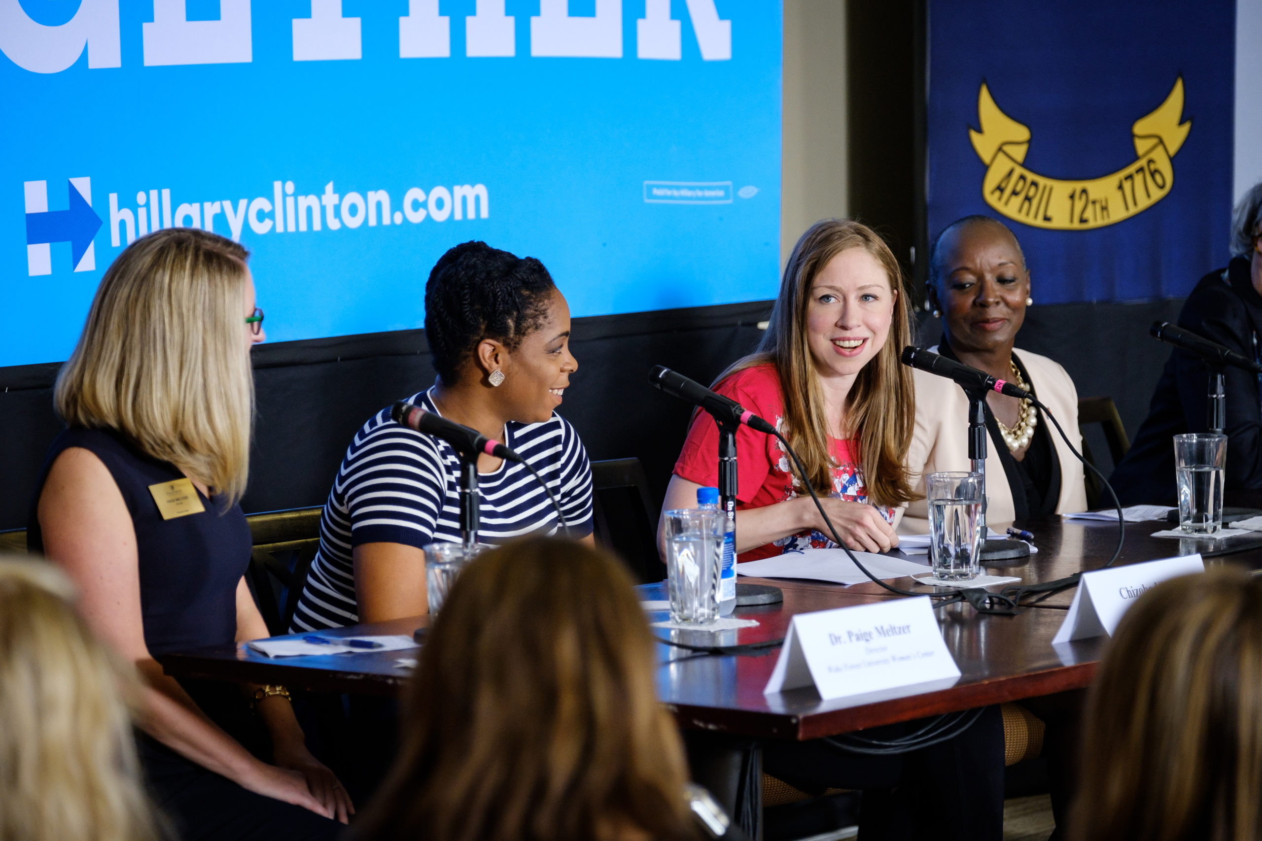Chelsea Clinton holds a panel discussion on women and leadership in Reynolda Hall on the campus of Wake Forest University on Tuesday, September 13, 2016, part of her campaign for her mother, Hillary Clinton. The panelists are moderator Paige Meltzer, director of the Women's Center at Wake Forest; Chizoba Ukairo ('17), a Wake Forest senior and student leader; Denise 'DD' Adams, Winston-Salem Council Member; and Libba Evans ('74, MBA '78), iActive Learning and University Trustee.