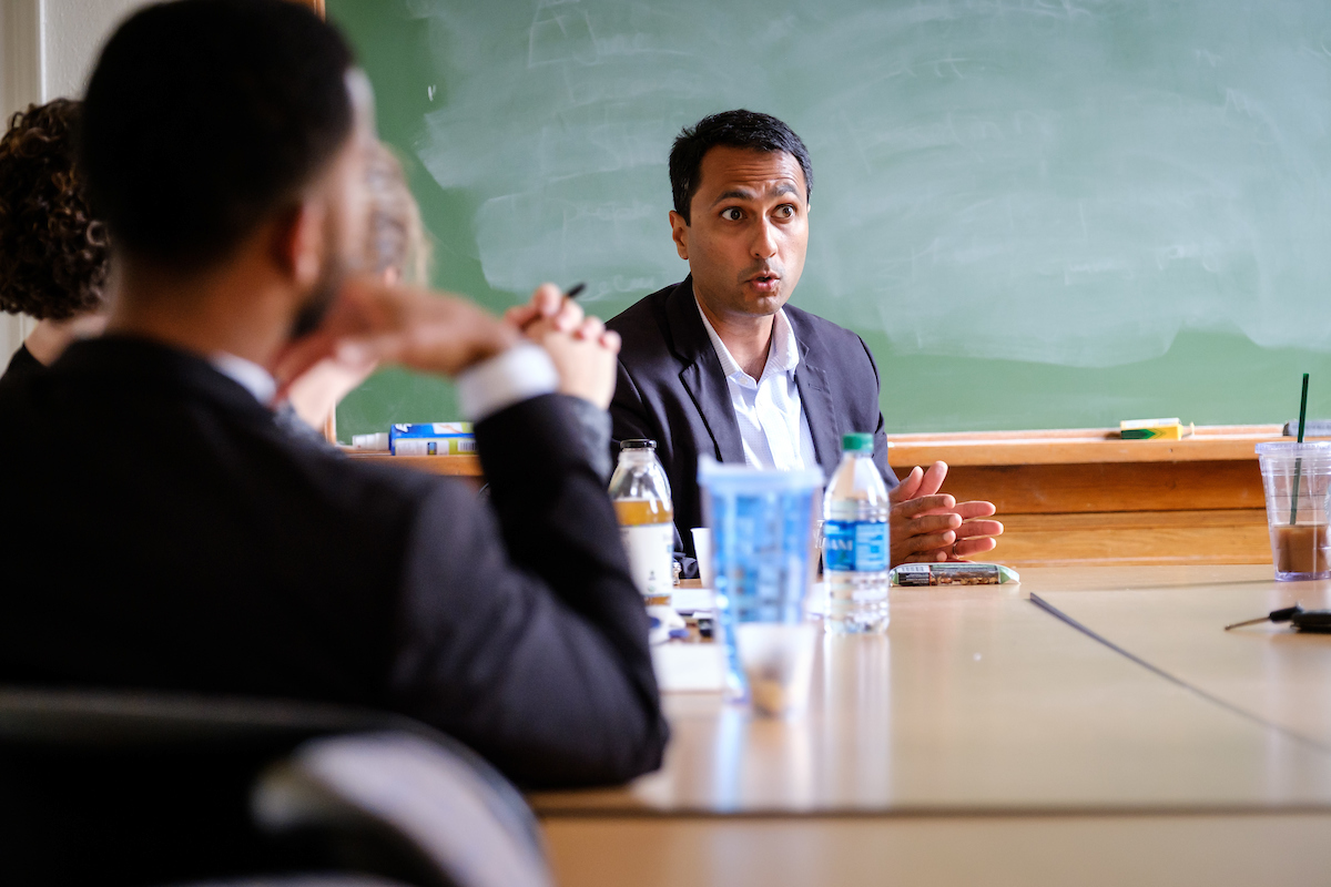Eboo Patel meets with a small group of Wake Forest students and recent graduates to talk about leadership issues on Wednesday, October 5, 2016. Patel was on campus as part of the Leadership Project.