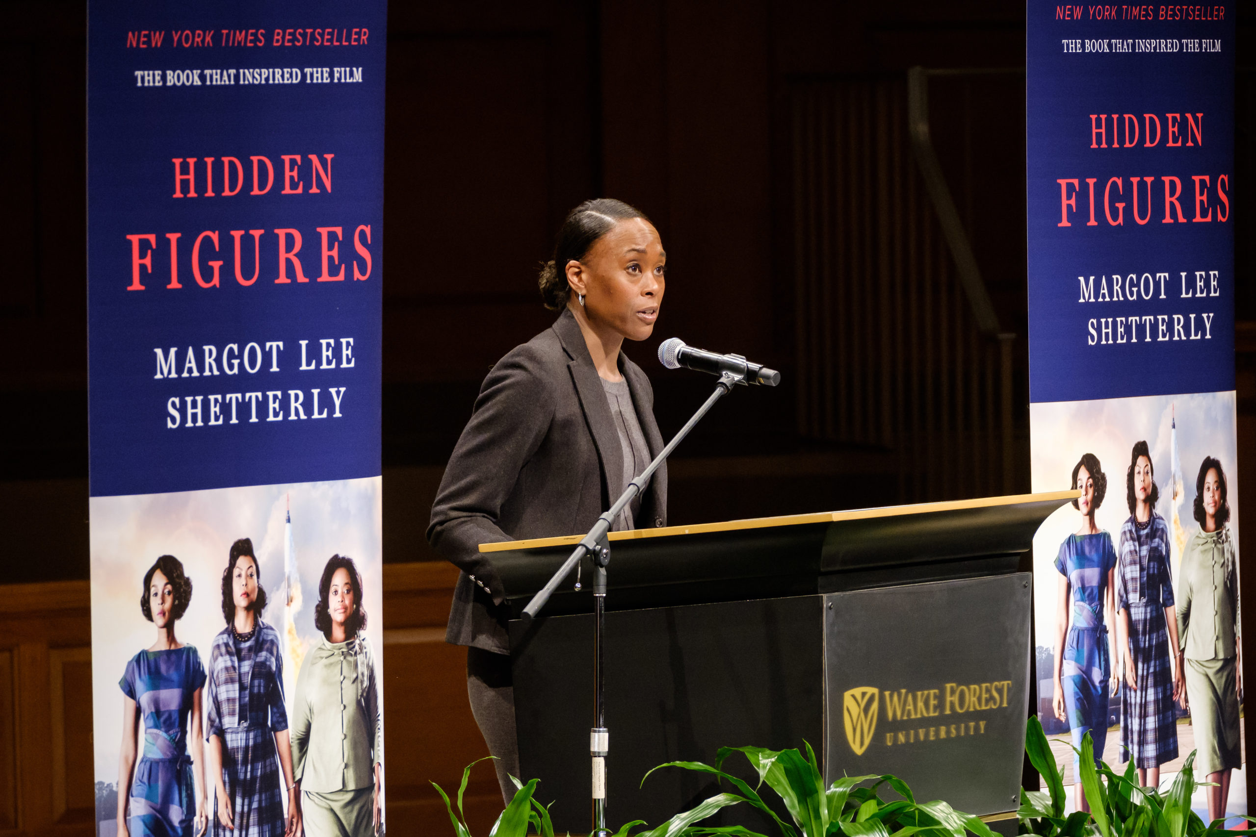 Writer Margot Lee Shetterly, author of the bestseller Hidden Figures, gives a speech about the history of the people in her book, part of Project Wake, in Wait Chapel on Monday, February 5, 2018.
