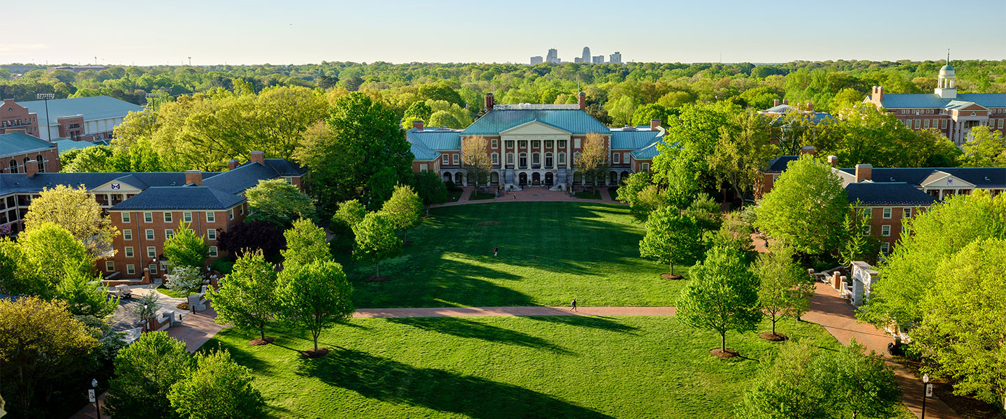 An aerial view of the Wake Forest campus