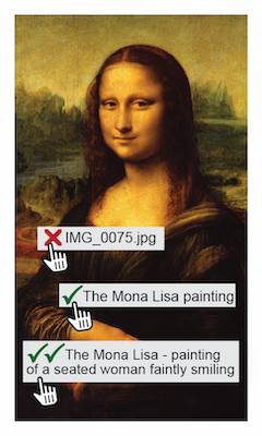 "The Mona Lisa painting with three text overlays: a red X next to ""img_0075.jpg"", a green checkmark next to ""The Mona Lisa painting"", and two green checkmarks next to ""The Mona Lisa - painting of a seated woman faintly smiling"""