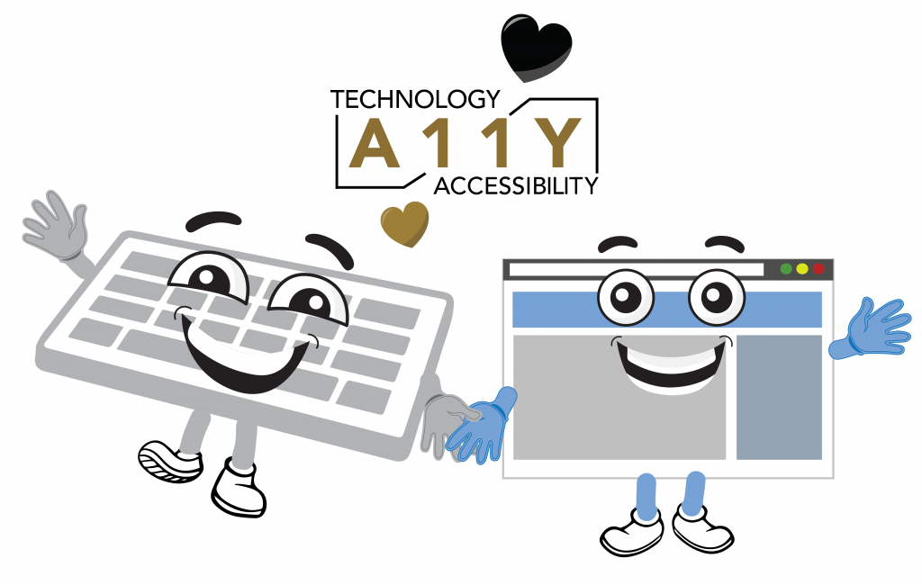 A keyboard and browser window happily hold hands with an a11y symbol and hearts above them