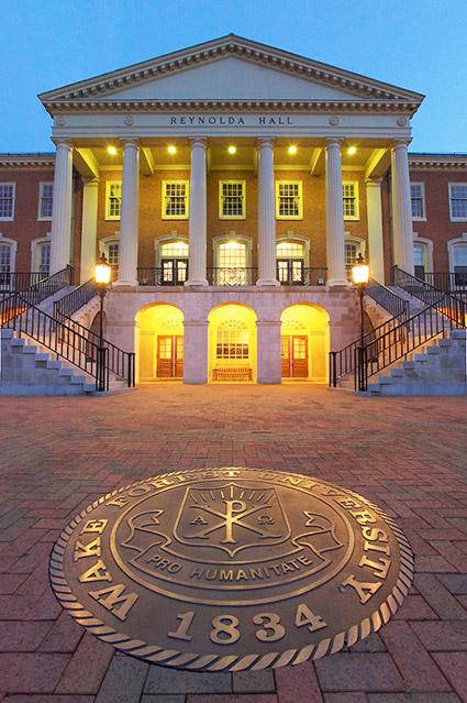 The University Seal outside Reynolda Hall.