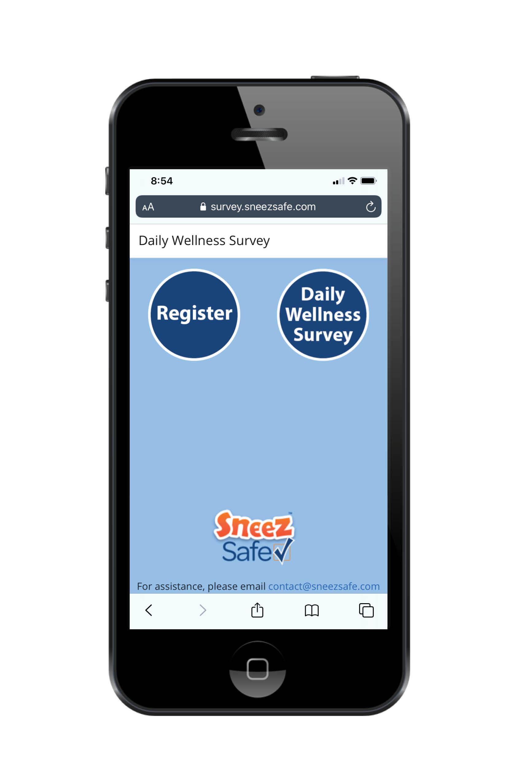SneezSafe phone screen