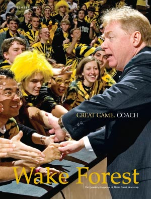 Magazine cover: Skip Prosser and student fans