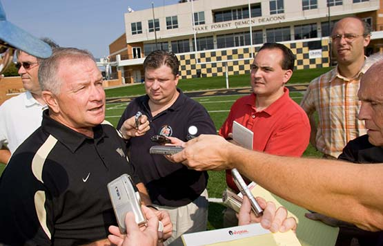 Jim Grobe and reporters
