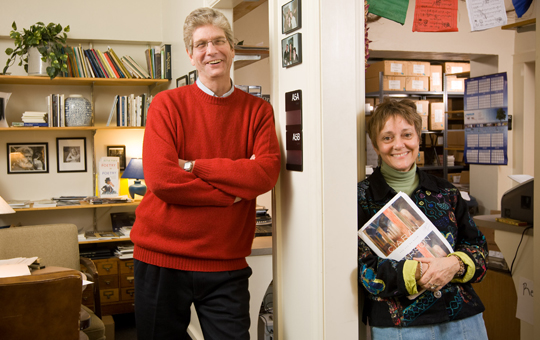 Jefferson Holdridge and Candide Jones in the office