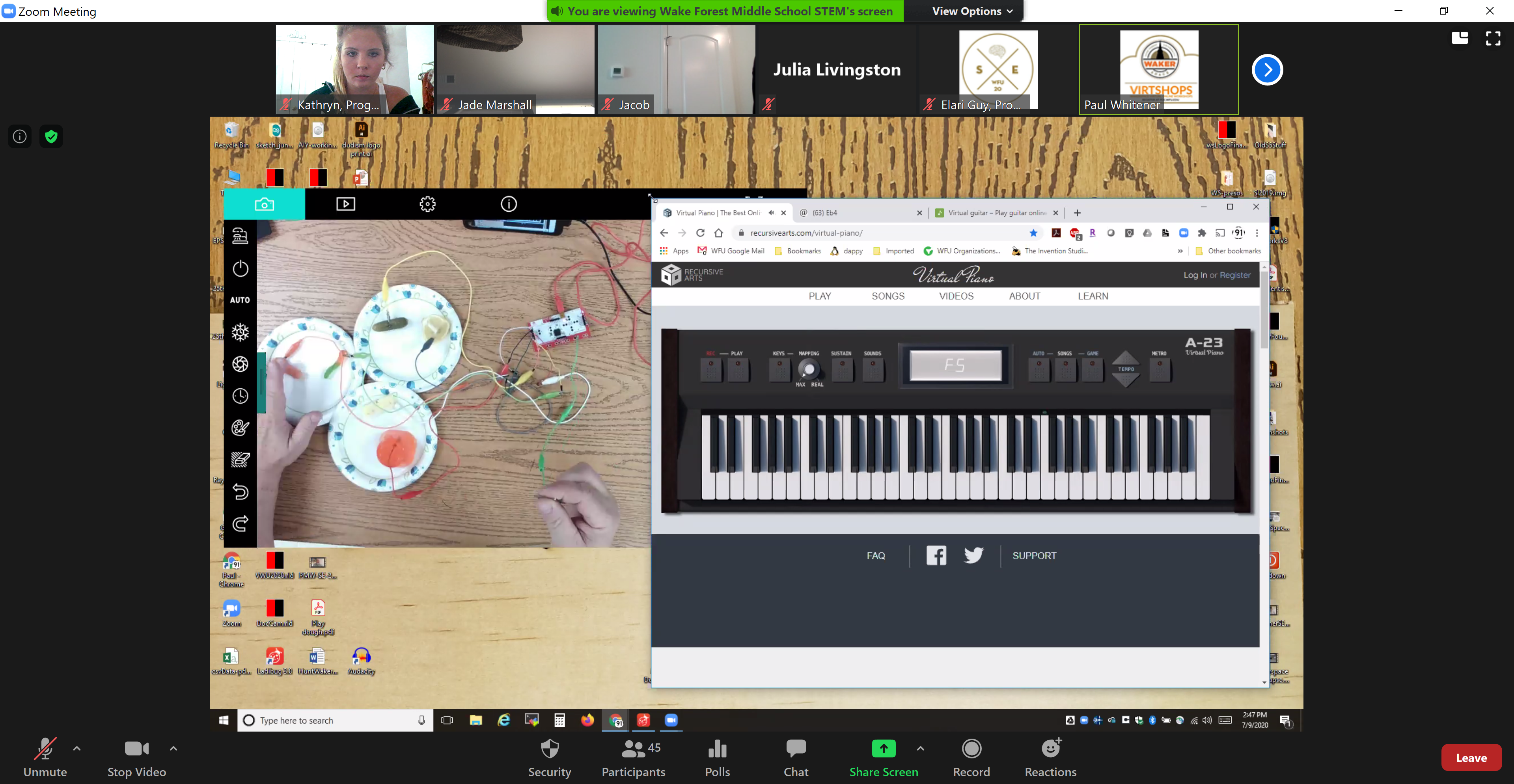 Screenshot of Makey Makey Lab Academic Leader Paul's Screen During the Lab
