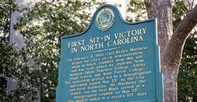 First Sit-in Victory in North Carolina Sign