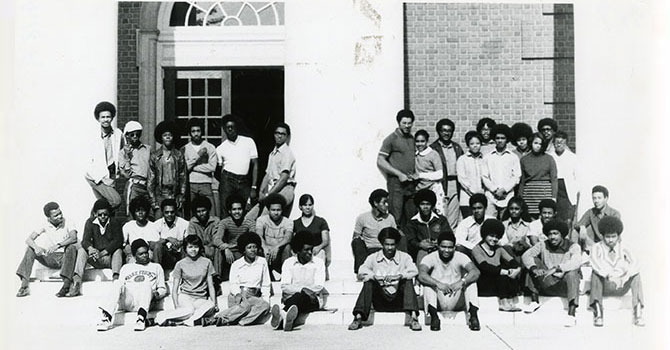 Photo of early members of Wake Forest University's Black Student Association.