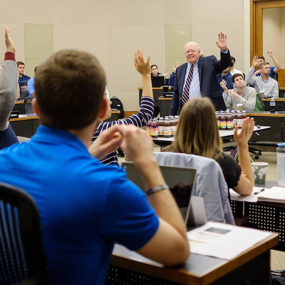 Wake Forest business professor Roger Beahm teaches his marketing class