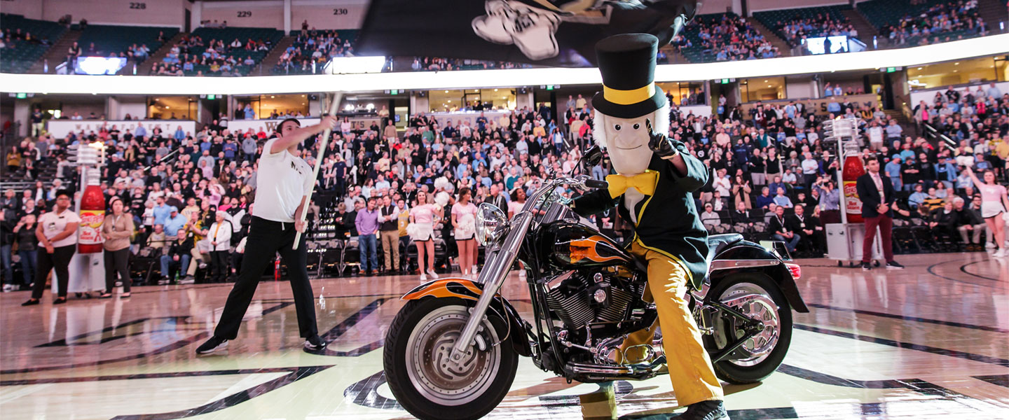 The Demon Deacon at a Wake Forest men's basketball game