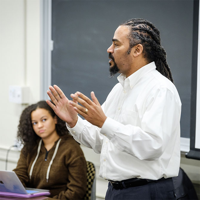 Wake Forest students in the First Year Experience class have a wide ranging discussion of the liberal arts, AP class credit, divisional requirements, and required language classes.