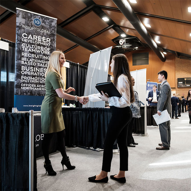 Wake Forest students meet recruiters at the annual career fair, sponsored by OPCD, in the Sutton Center