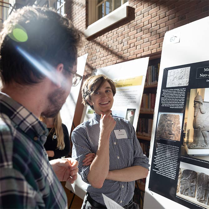 Wake Forest students show the results of their research projects during Undergraduate Research Day