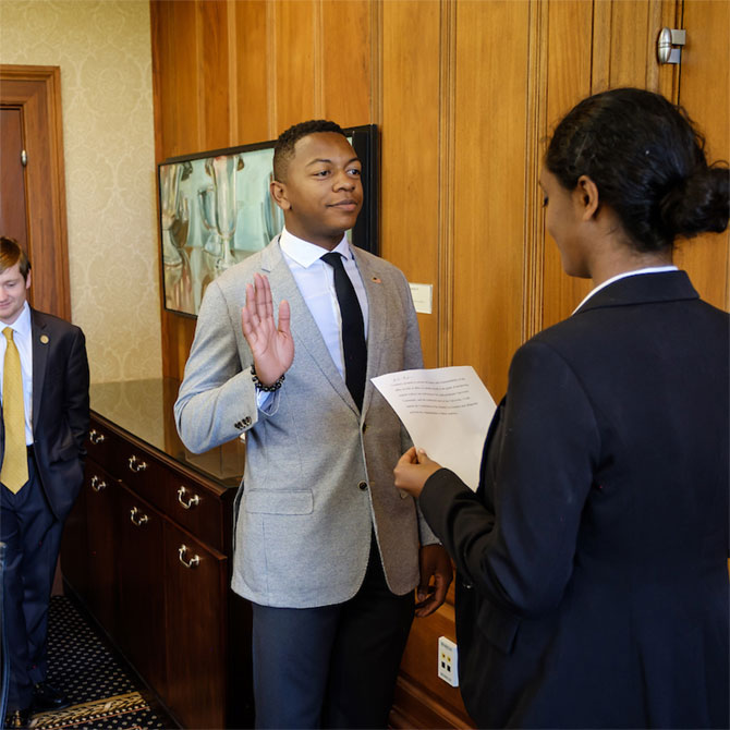 New student government leaders are sworn in at the office of President