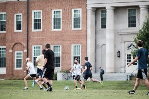 Wake Forest students play recreational soccer on Poteat Field