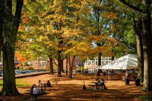 Fall color decorates the Wake Forest campus outside of Farrell Hall