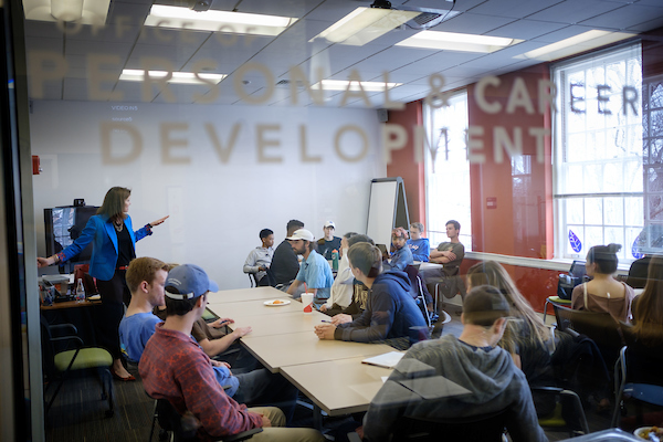 Students in Wake Forest professor Heidi Robinson's career class give their final presentations inside the Innovation Station in the Office of Personal and Career Development on the campus of Wake Forest University on Monday, February 27, 2017.