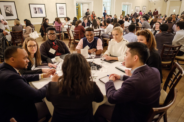Students networking during a diversity event