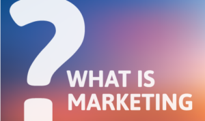 "Graphic with colorful background gradient, large question mark on the left, and smaller ""WHAT IS MARKETING"" text on the right side."