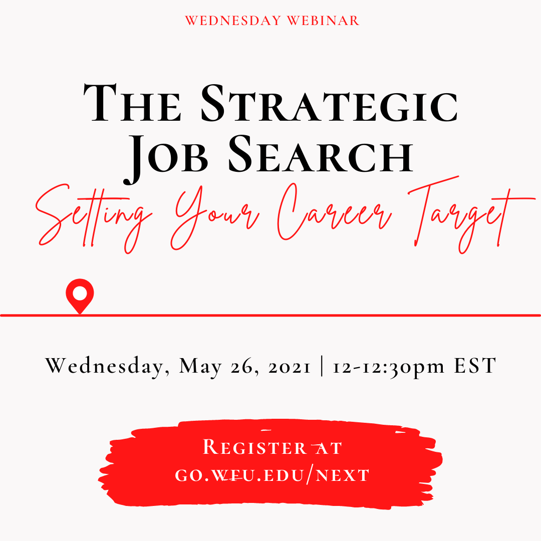 The Strategic Job Search: Setting your career target