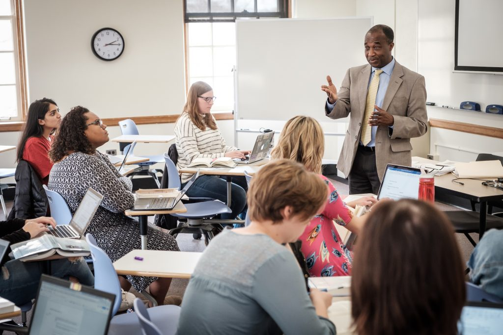 Wake Forest religion professor Simeon Ilesanmi teaches an upper level class in Wingate Hall on Wednesday, April 4, 2018.