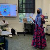 Author Reem Faruqi addresses Kimberly Wortmann's Introduction to Islamic Traditions class