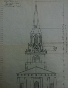 A scale drawing of Wait Chapel was used to determine Mickey's size.