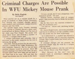 Winston-Salem Journal article on the Mickey Mouse caper.