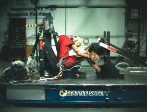 The CIREN team uses a sled test in its research. Photo courtesy CIREN