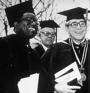 Reynolds with then-Trustee Chairman Egbert L. Davis Jr. ('33) and then-President James Ralph Scales, delivered the Founders' Day address in 1977