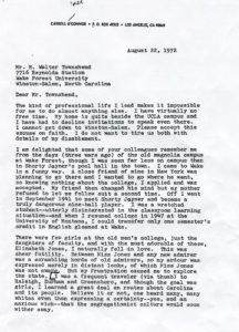 Carroll O'Connors letter to Walt Townsend