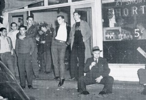 A scene outside Shorty's pool hall, around 1943.