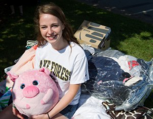 Freshman Lisa Shaffer brought along a friend from home to her new home at Wake Forest.