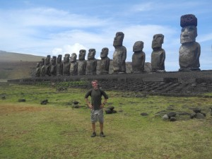 On Easter Island in the South Pacific, known for its extant momumental statues called 'moai'