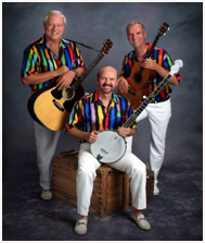 The Kingston Trio's current members are George Grove (seated), Bill Zorn (left) and Rick Dougherty.