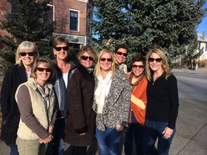 Celebrating their 50th birthdays at Breckinridge, Colo., in 2013 are (left to right)  Val Van Slyke Schlosser, Kathy Bourne Borton, Susan Williams Brodeur, Kendra Beard Graham, Tish Layman Alessandro, Becky Forrester Lundberg, Katie Carter Zimmer and Louise Blake York. Not pictured is Dianne Mayberry.