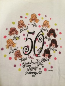The group had T-shirts created to commemorate their 50th birthdays and 24 years of round-robin letters.