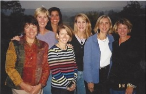 The round-robin ladies gather at Virginia in 2003: (left to right) Katie Carter Zimmer, Susan Williams Brodeur, Becky Forrester Lundberg, Kathy Bourne Borton,  Louise Blake York, Dianne Mayberry and Kendra Beard Graham. Not pictured: Val Van Slyke Schlosser and Tish Laymon Alessandro.