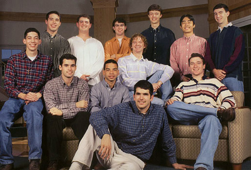 George Faithful (seated far left in plaid shirt) with members of Chi Rho 1998-99.