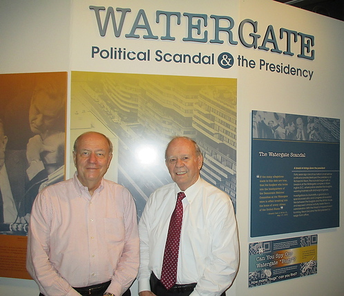 Walker Nolan (at left) and Gene Boyce visiting an exhibit on Watergate at the N.C. Museum of History.