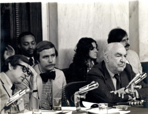 Walker Nolan ('65), center, between Sen. Howard Baker (R-Tenn) and Sen. Sam Ervin (D-NC) at the Watergate Committee hearings.