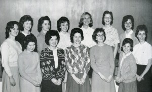From 1963, Women's Government includes Sue Fulkerson O'Connor (front row, second from right), Kay Overman Ferrell (back row, fourth from right) and Judy Palmer Newsoroff (back row, far right).