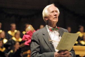 Ed Christman celebrates the Moravian Christmas Love Feast in 2002.
