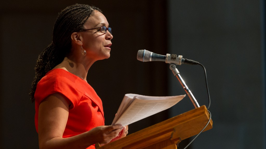 Melissa Harris-Perry speaks in Wait Chapel in 2012.