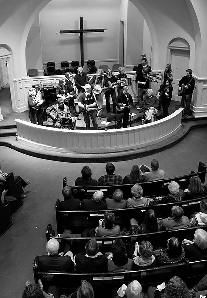 Playing a benefit concert at Green Street United Methodist Church with Big Ron Hunter (seated), January 2012.