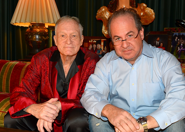 Tom Hayes and Hugh Hefner. Photo by Elayne Lodge.