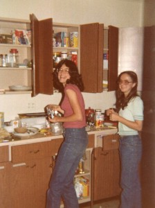 Graylyn, apartment, spring 1978, Linda and Karen in the apt kitchen