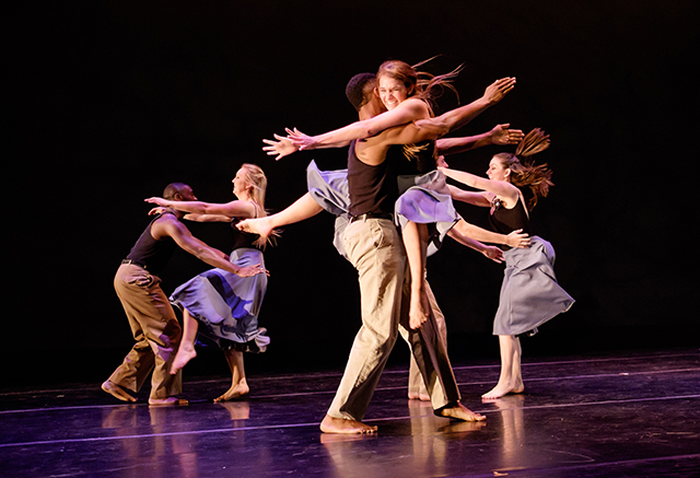StFemale dancers fly through the air into the arms of male dancers in the final dress rehearsal for the Wake Forest University Dance Company's spring concert, April 2015.